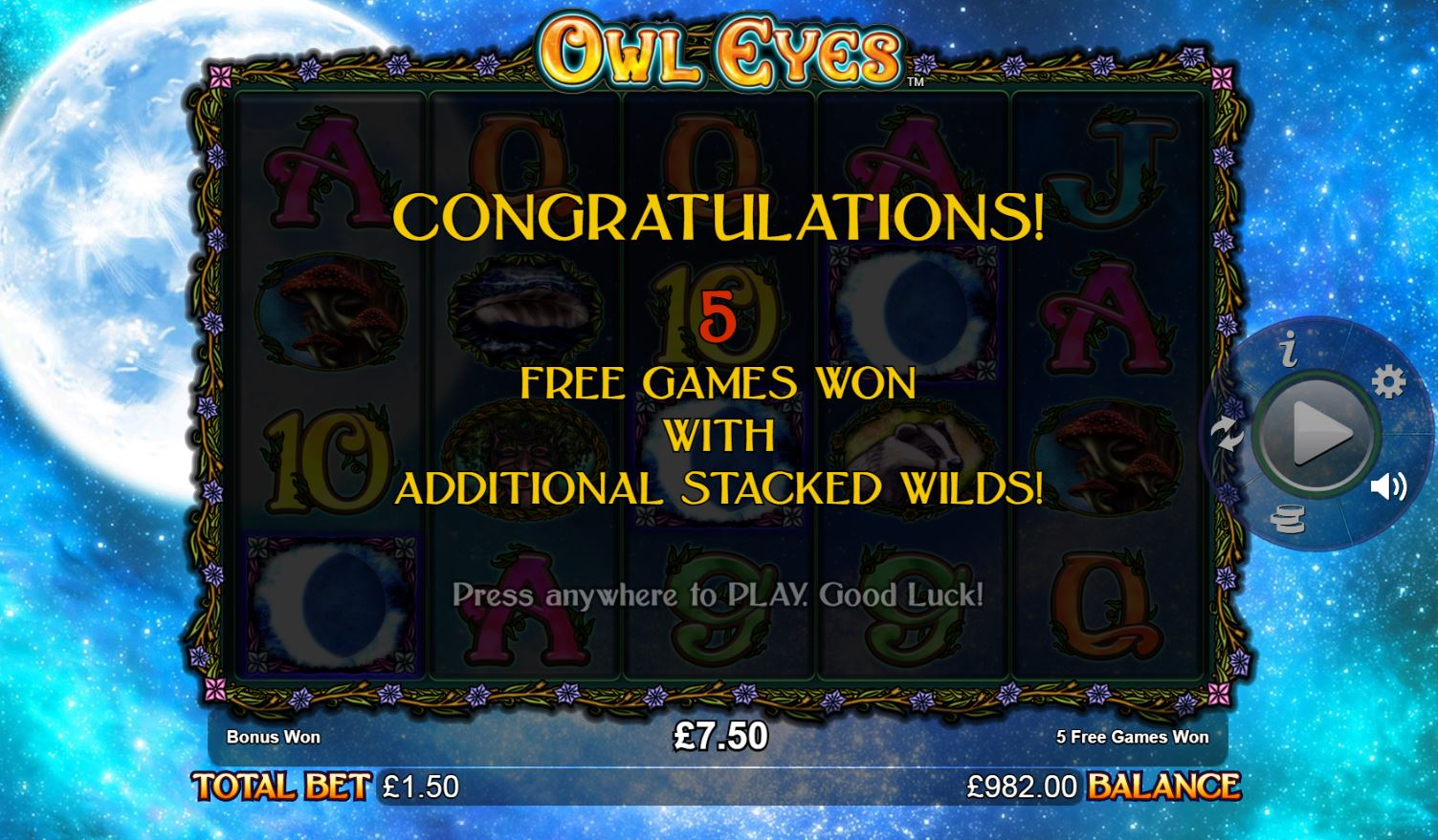 Owl Eyes Free Spins