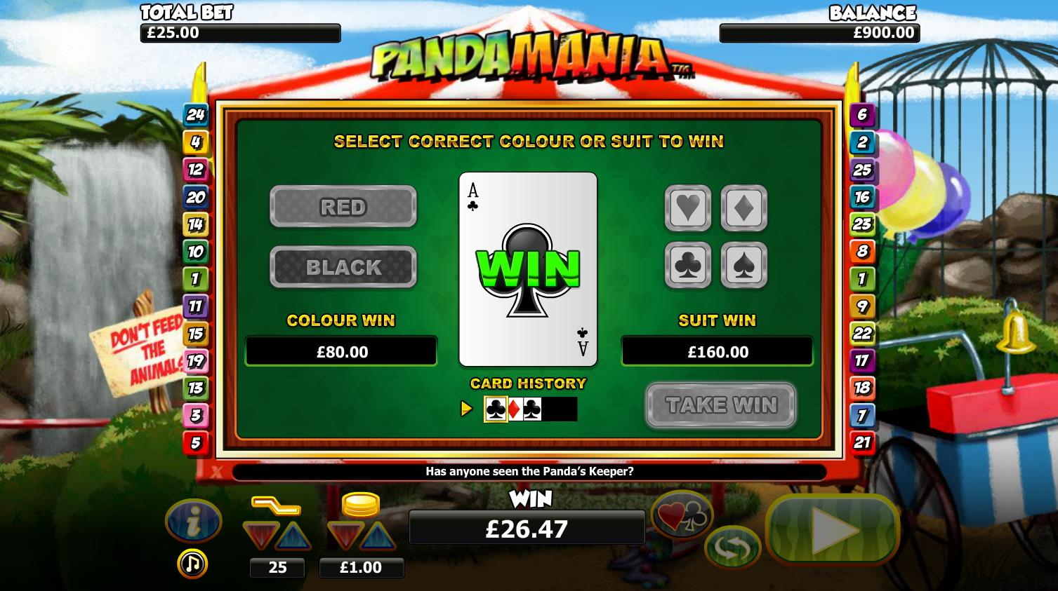 Pandamania Gamble Win